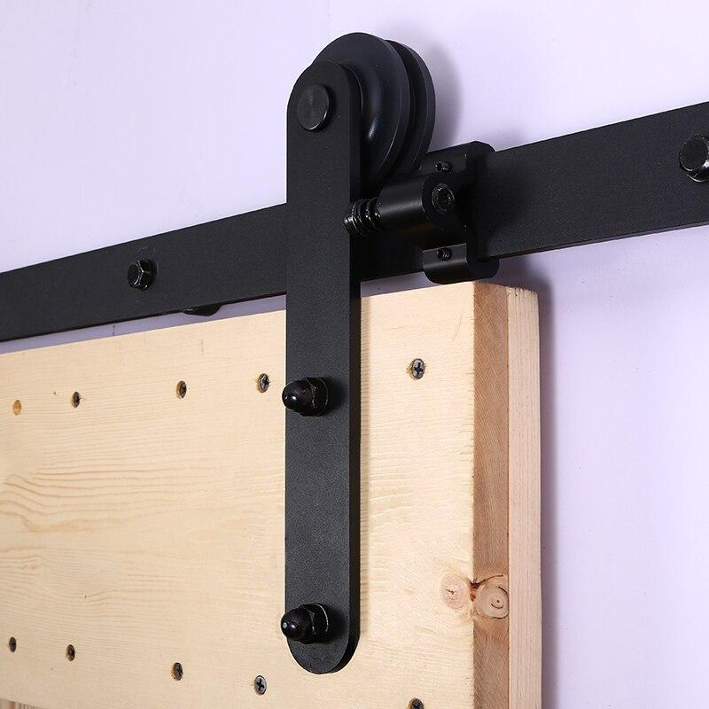 LWZH European Style Sliding Closet Wood Barn Door Hardware Kit Black Steel Round Shaped Hangers Track Rollers for Single Door