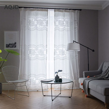 AQJD Whrite Art Embroidered For Living Room Tulle Window Embroidered Voile Curtains Sheer For Bedroom Children Curtains Sj-501