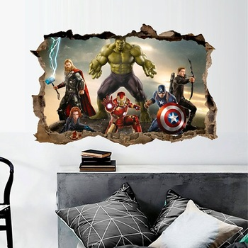cartoon movie Avengers wall stickers for kids rooms home decor 3d effect decorative wall decals diy mural art pvc posters art 1