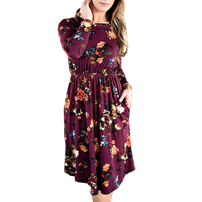 BAMBOOBOY 2017 Winter New Women O Neck Floral Print Dress Casual Large Size Knitted Loose Long