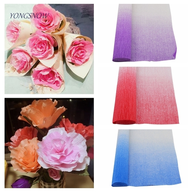 25050cm gradient color crepe paper roll for diy flowers decoration 25050cm gradient color crepe paper roll for diy flowers decoration gift bouquet wrapping paper mightylinksfo
