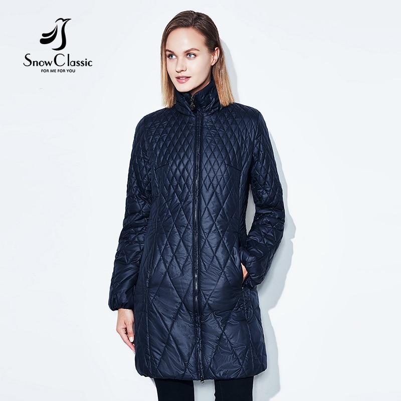 SnowClassic 2018 ربيع الموضة النسائية سترة رقيقة معطف القطن طويل خندق معطف مقنع تنفس دافئ