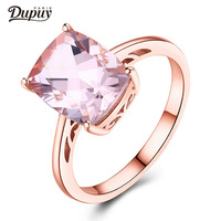 DUPUY New VS 7X9mm Cushion Cut Morganite Ring Floral Halo Diamond Gemstone Ring Stackable Ring Vintage Ring Jewelry F0104MO