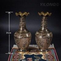 12 дюймов 31 см высота 2 шт. Цвет волна рот вазы Пакистана ваза ручной работы Медь латунь (002a)