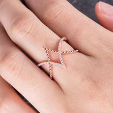 Huitan Unique Rhombus Shaped Ring Rose Gold Color Anniversary Band Fashion Geometric Hollow New Years Gift Women