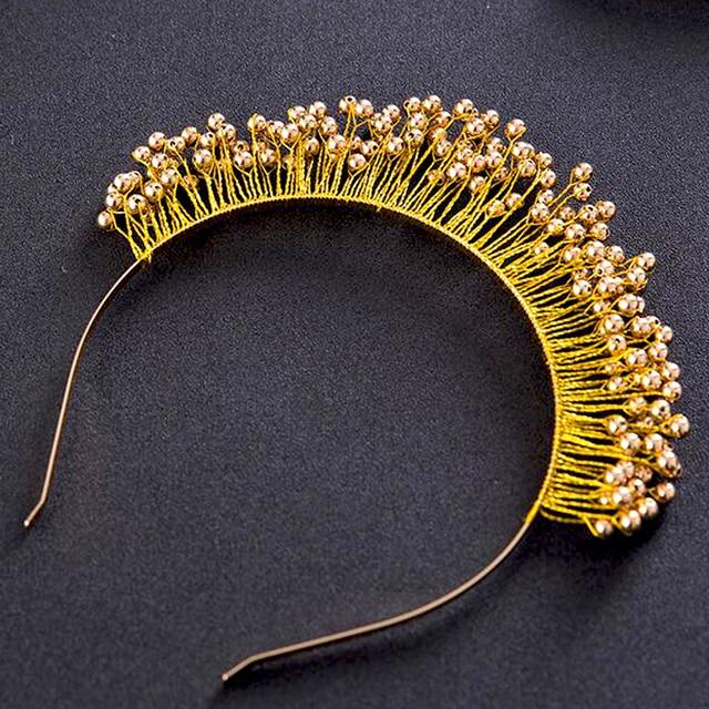 Us 1525 Handmade Gold Perle Braut Tiaras Goldene Stirnbänder Brautkopfschmuck Prom Haarschmuck Hochzeit Haarschmuck Haarbänder In Handmade Gold
