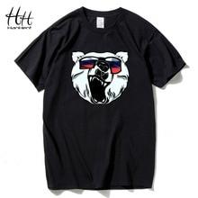 HanHent russian bear printed t-shirt men summer cotton animal round neck tshirt man russia fashion swag t shirt