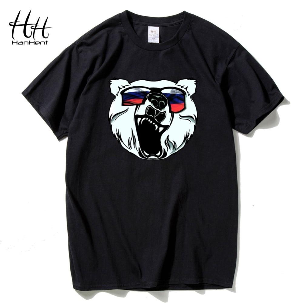 HanHent orosz medve nyomtatott póló férfi nyári pamut állat - Férfi ruházat