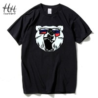 HanHent Russian Bear Printed T Shirts Men Fashion Man S TShirt Cotton Round Neck Short Sleeve