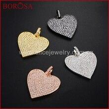 BOROSA CZ микро подвеска в форме сердца для изготовления браслетов, 4 металлические гальванические кубические циркониевые Стразы Подвеска WX321