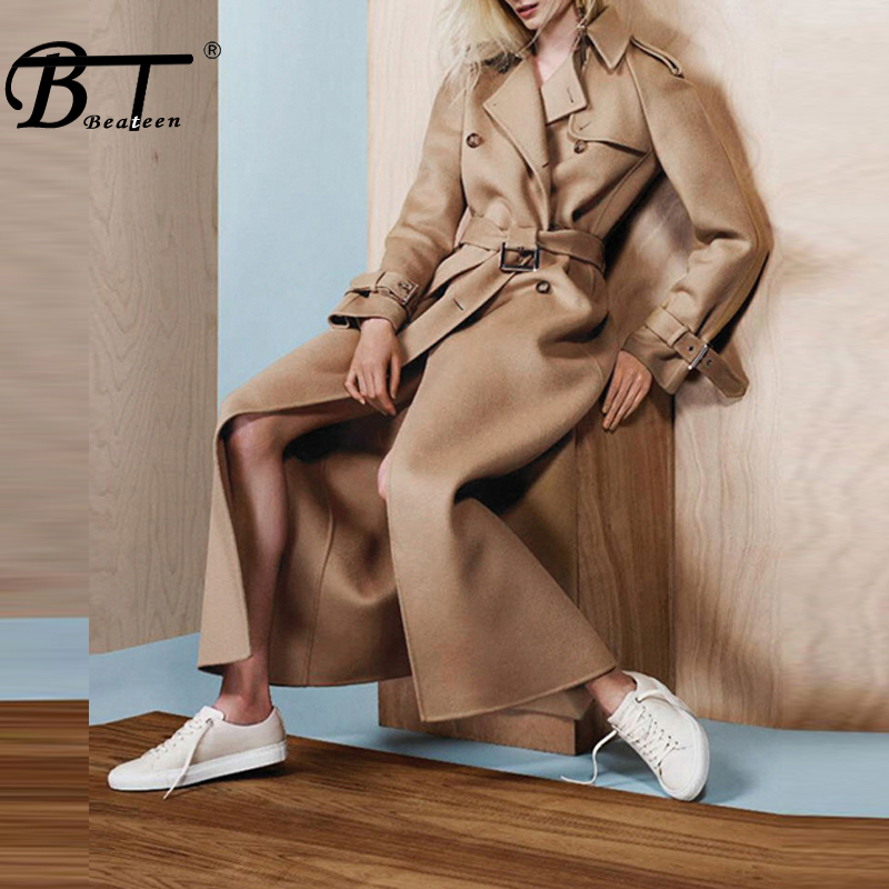 Beateen Sashes Belt Long Women   Trench   Fashion Turn Down Collar Button Wide Waisted Full Sleeve Solid Women Coat 2018 New