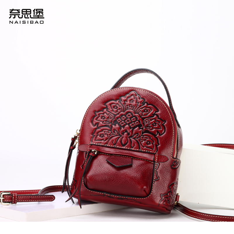 High Quality Genuine Leather Backpack Chinese Style fashion Shoulder Bags Vintage women bag Free Shipping women backpack fashion pvc faux leather turtle backpack leather bag women traveling antitheft backpack black white free shipping