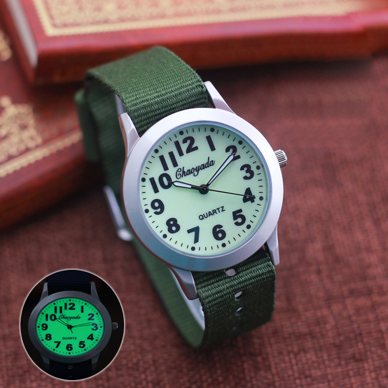 2019 CYD High Quality Boys Girls Outdoor Sport Quartz Wristwatches Students Learning Time Clock Fashion  Luminous Canvas Watches