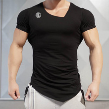 HOT SELL 2017 Summer New Fashion Brand Mens Gyms Clothing V neck Solid Color Short Sleeve