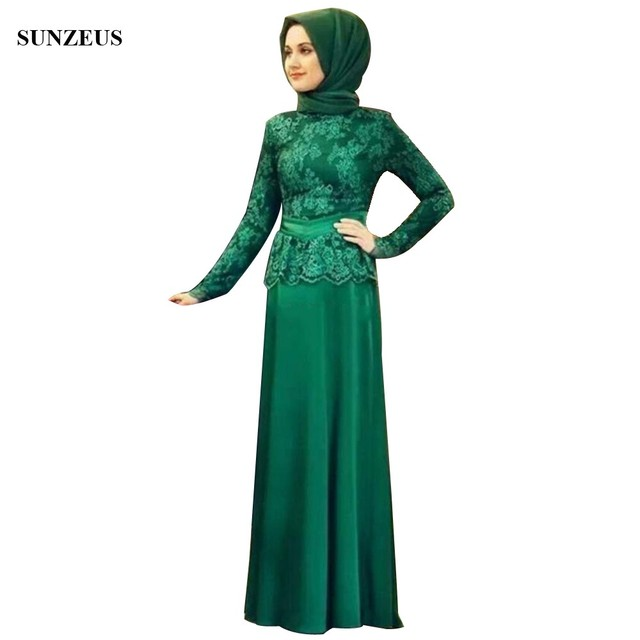 Saudi Arabic Muslim Mother Of The Bride Dresses Lace Long Sleeve Women Party Gowns Chiffon