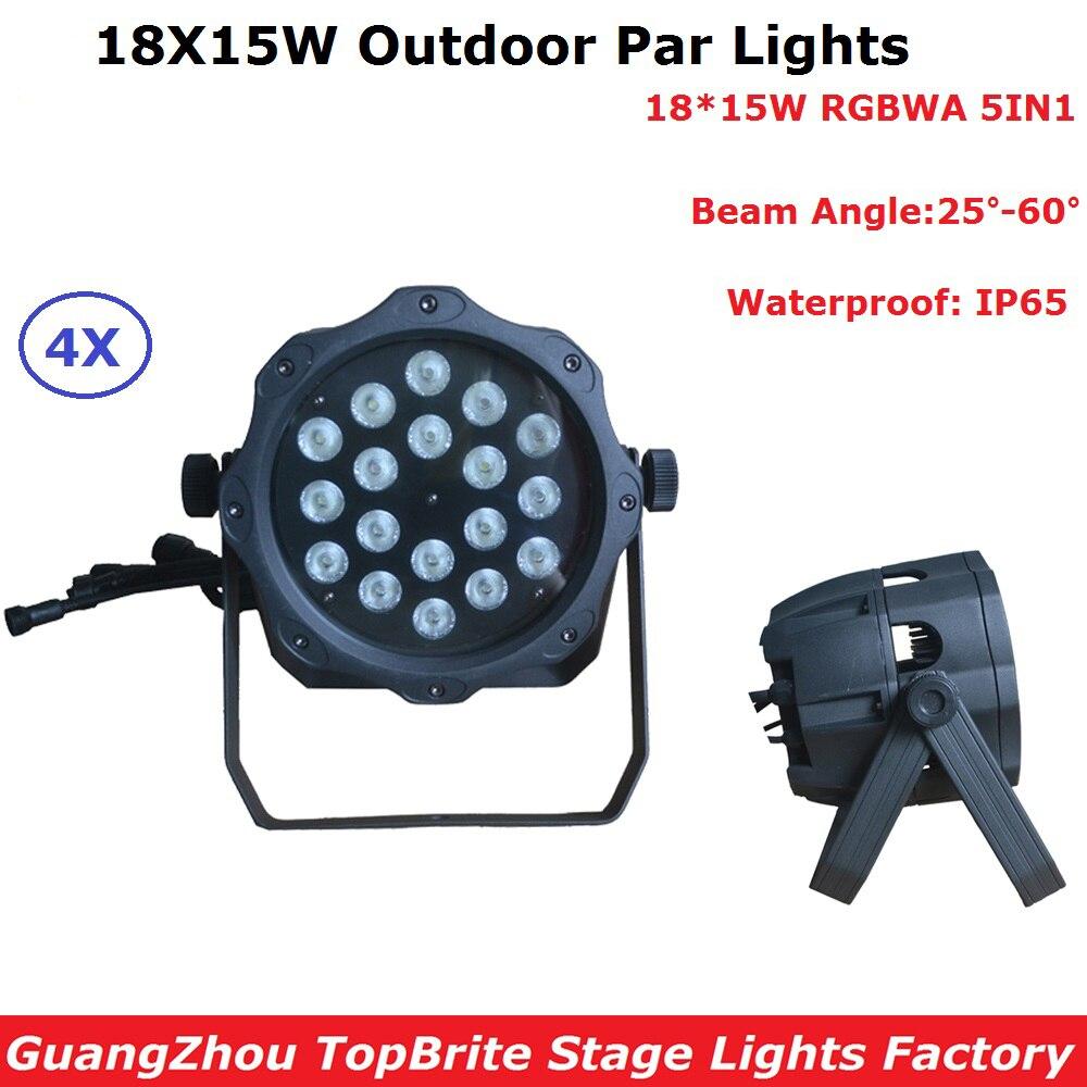 AC90-220V EU/US Plug 18Pcs 10W RGBWA 5IN1 LED Par Lights 8CH Waterproof Par Stage Lights Professional Dj Lingting Equipments title=