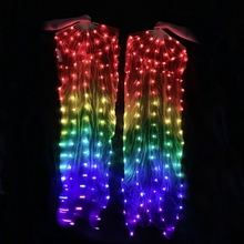 Adult Belly Dance Accessories Colorful Light up LED Fans Shiny Women Bellydance white light