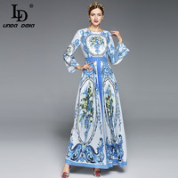 2017 Maxi Dresses Long Sleeve Long Dress Women Elegant A Line Casual Party Blue And White