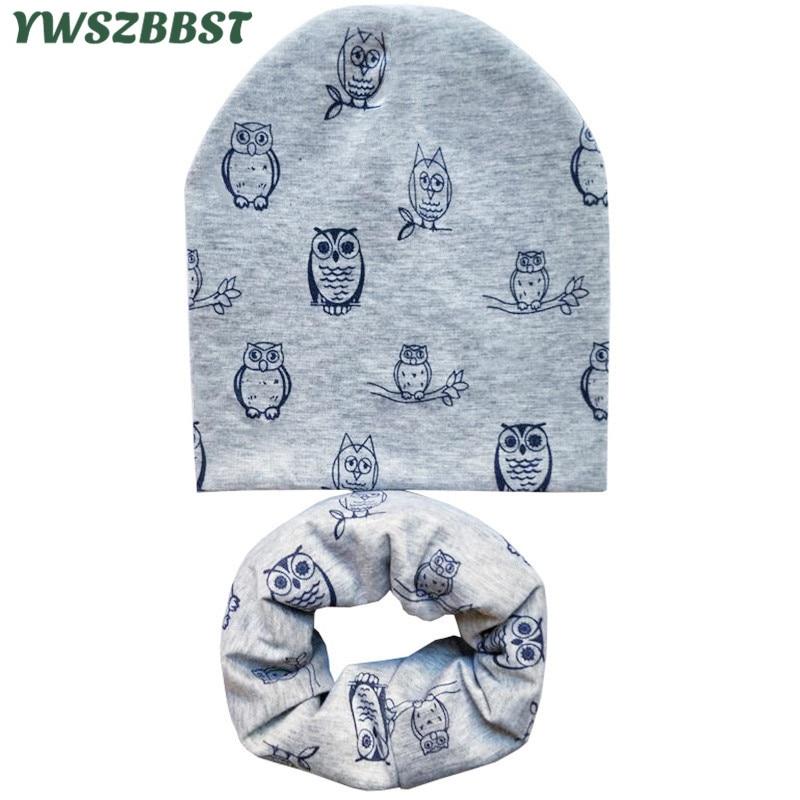 New Fashion Owl Animal Print Cotton Children Hat Scarf Collar Boys Girls Beanies Cap Autumn Winter Kids Scarf Baby Hat Scarf Set