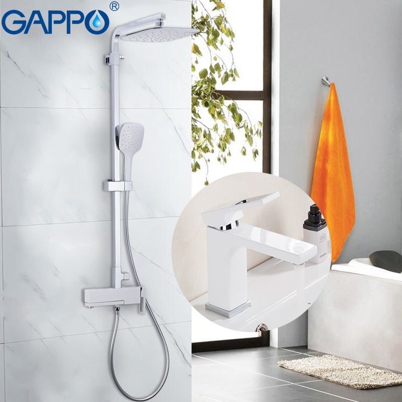 GAPPO Shower Faucets chrome and white bath faucet mixers shower set with basin faucet brass bathroom shower set griferia        GAPPO Shower Faucets chrome and white bath faucet mixers shower set with basin faucet brass bathroom shower set griferia