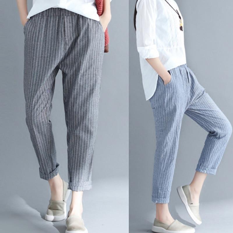 New Thin Cotton Linen Harem Pants Women Summer Autumn Plus Size Striped Pant Female Elastic Waist Ankle-Length Leggings 4XL M289 1