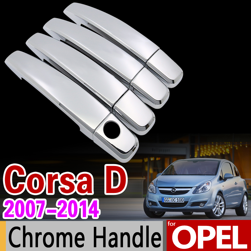 for <font><b>Opel</b></font> <font><b>Corsa</b></font> <font><b>D</b></font> 2007-2014 Chrome Handle Cover Trim Set Vauxhall <font><b>2008</b></font> 2009 2010 2012 2013 Car Accessories Stickers Car Styling image