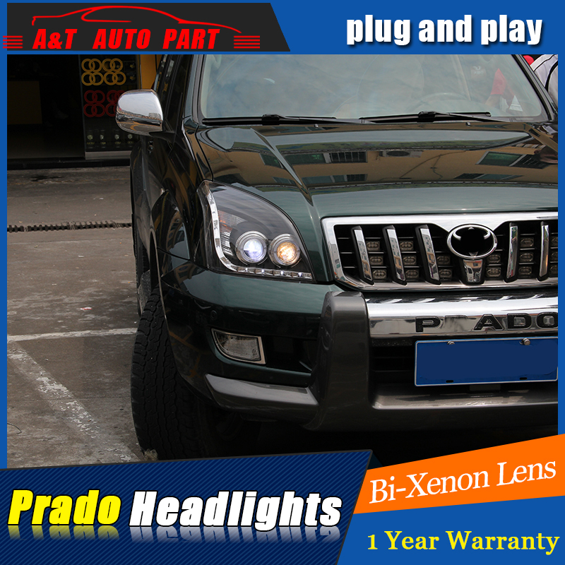 Car Styling For toyota PRADO headlights 2003 2009 For PRADO LED head lamp Angel eye led