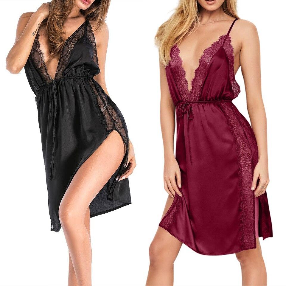 2019 Fashion Europe Home Clothes Women Dress Sexy Lace Deep V-neck Sleepshirts Sleeveless Silk Plus Size S-XXXXL Nightdress