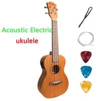 Concert Acoustic Electric Ukulele 23 Inch Guitar 4 Strings Ukelele Guitarra Handcraft Wood White Guitarist Mahogany