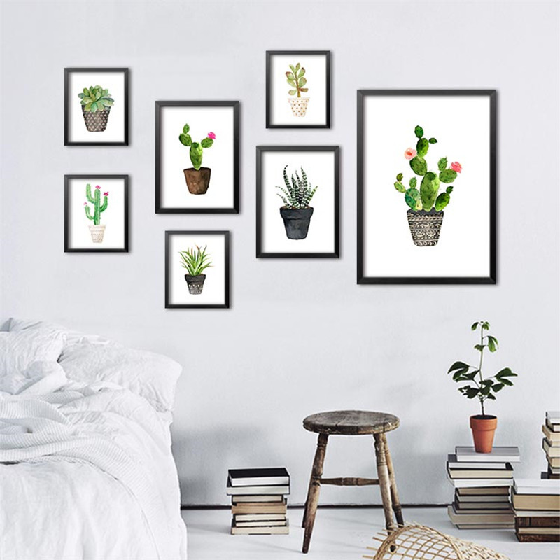 Buy green plants cactus modular pictures wall print pictures for living room - Poster decoracion ...