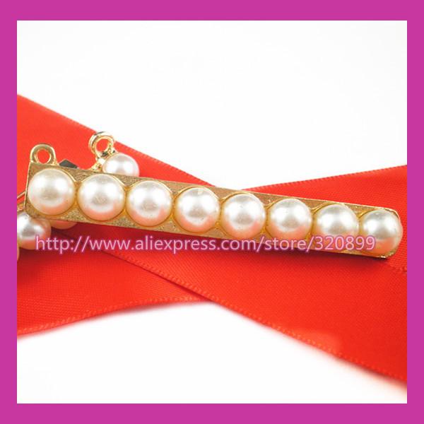 100pcs/lot 64*8mm gold Pearl Strip Rhinestone Brooch,Wedding Pin For constume/Chair Sash/Invitation Card/DIY accessory