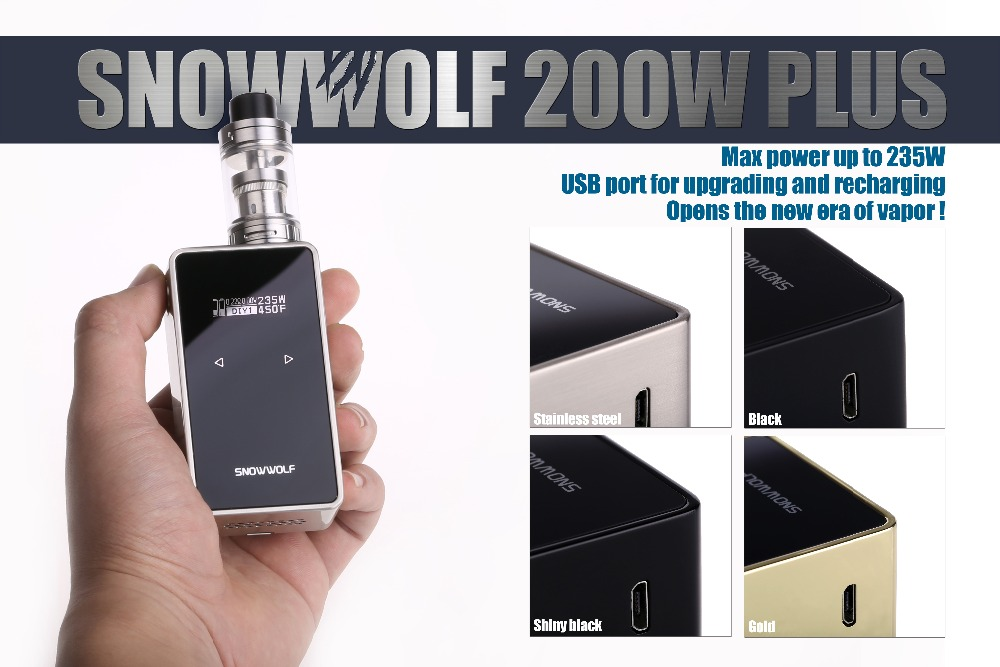 100% Original Snowwolf 200w Plus Electronic Cigarette vape mod 9 inch Big OLED with Touch Button Box Mod In Stock