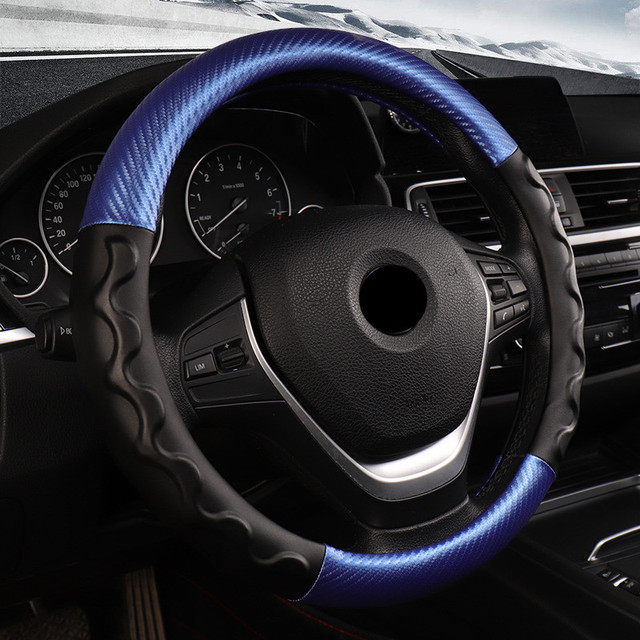 DONYUMMYJO Carbon Fiber Leather Car Covers Steering Wheel