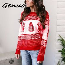 Genuo 2019 New Autumn Winter Sweater Women Cute Christmas Jumper Pullover Knitting For Girls Causal Jersey
