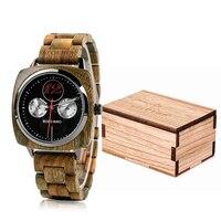 גברים שעון בובו ציפור עץ קוורץ שעוני יד זכר Saat erkek שעונים להראות תאריך שבוע ליצור שעון בעץ תיבת relogio masculino