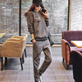 Women's Suits Large Size  Sweater Insignia Two Piece Suit For Women Long lantern sleeve Plus Size Clothing 3038