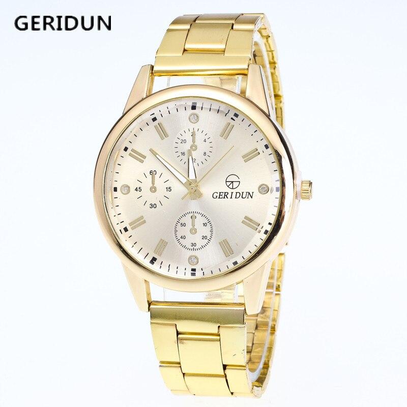GERIDUN Gold Watch Men Watches Brand Luxury Famous Wristwatch Male Clock Golden Quartz Wrist Watch Calendar Relogio Masculino