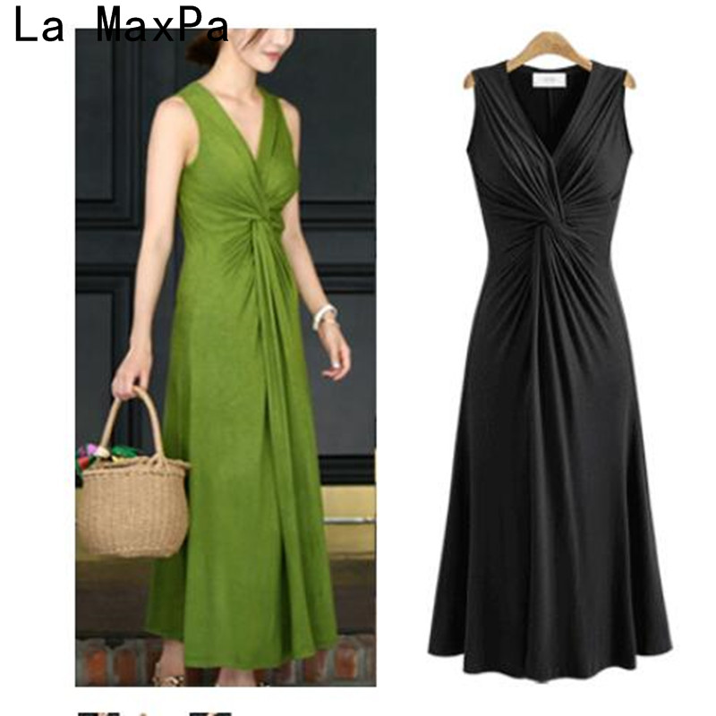 Plus size XL- 5XL Summer Women Fashion Sexy V-Neck Maxi Dresses Sexy Beach Long Floor Dress Party Vestiods Lady slim waist robe