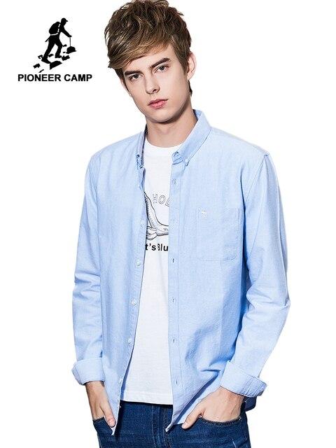 Pioneer Kamp Mannelijke 2019 Herten Borduurwerk Klassieke Zakelijke Mannen Shirts Lange Mouw 2 Kleuren 100% Katoenen Jurk Shirt ACC901186