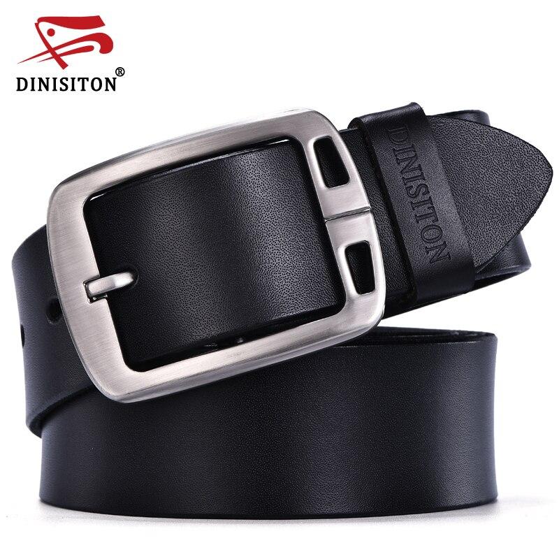 DINISITON hombres de vaca de cuero genuino cinturón hombre correa de lujo hombres cinturones para hombres nueva moda vintage pin hebilla diseñador marca