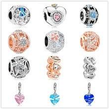 31e408b3f good quality 4 color Princess heart love life flower Pendant Fit Original  Pandora Bead Bracelet For