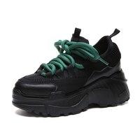 Hoge Platform Schoenen 8 CM 2019 Lente Herfst Lichtgewicht Ontwerp Dames Schoenen Zwart Casual Schoenen Vrouwen Sneakers Flats Tenis