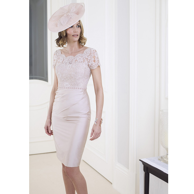 Modest Lace Mother Of The Bride Dresses With Jacket Short Sleeve Rose Gold Sheath Sheer Scoop Knee Length Formal In