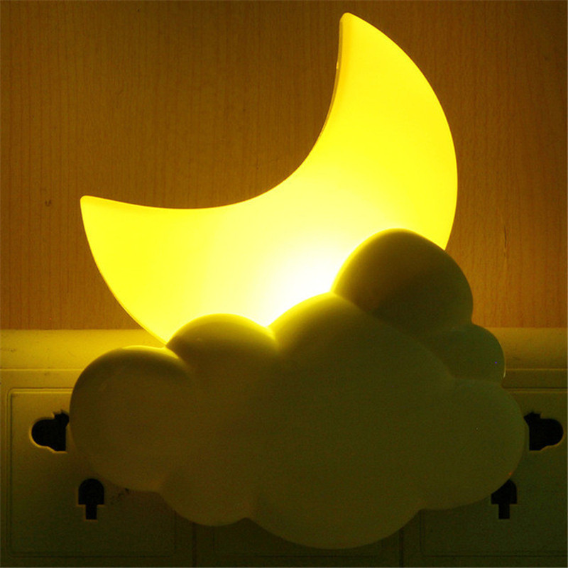 AC 110V 220V Night Lights Cartoon LED Moon Cloud Auto Light Sensor Children Baby Bedroom Lamp Home Decoration Wall Socket Lamp A