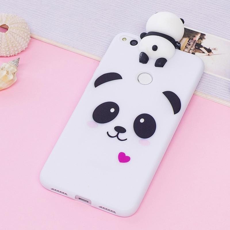 p8 lite 2017 kawaii 3d cartoon unicorn panda soft tpu silicon back phone cover for coque huawei