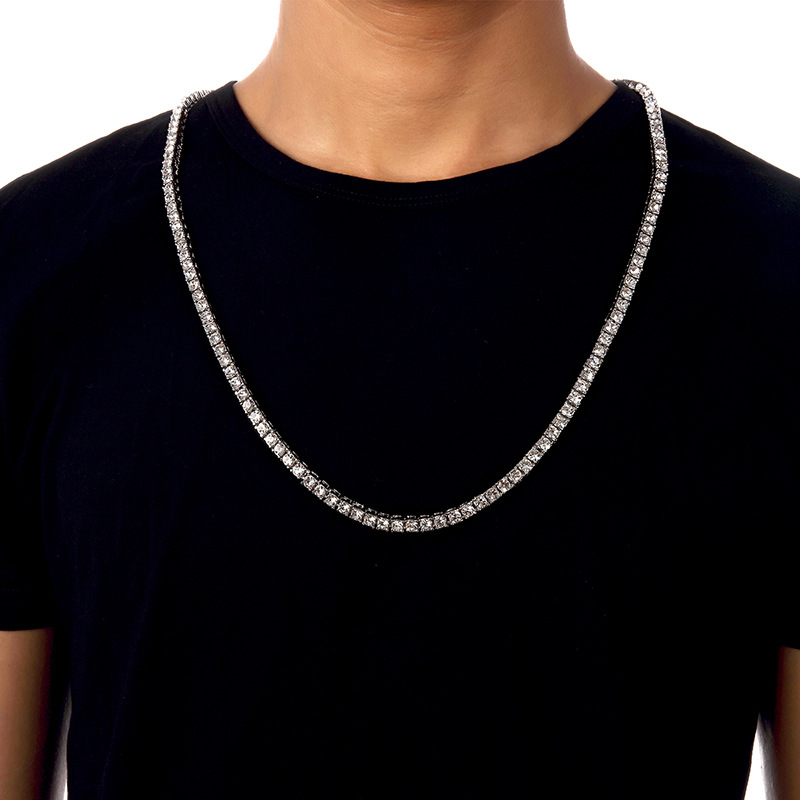 2017 New Iced Out Men Lady Tennis Necklace Fashion Cubic Zirconia 1row  crystal rhinestone White Gold color Hip Hop Jewelry-in Chain Necklaces from  Jewelry ... fb4bd2b8401d