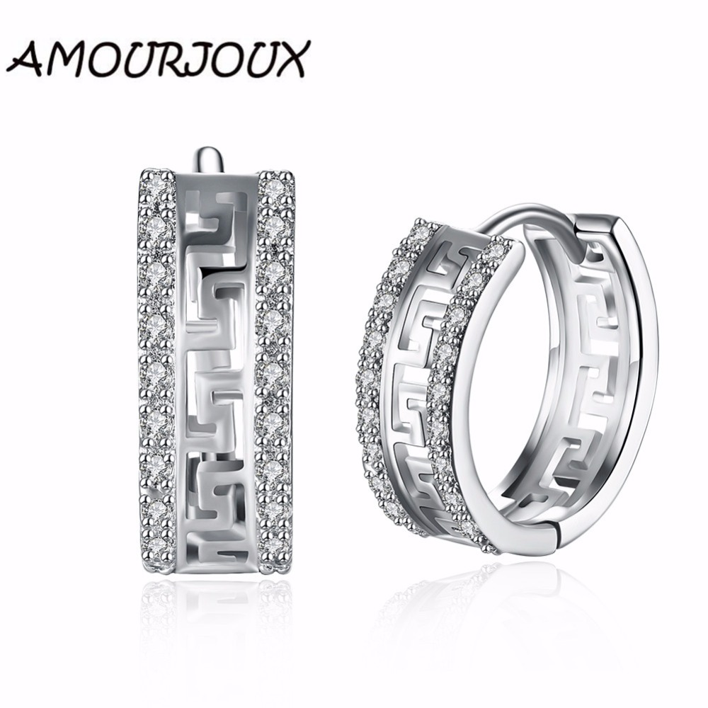 AMOURJOUX Dual Line Zirkon Inlay Great Wall Muster Weiß Gold farbe Clip...