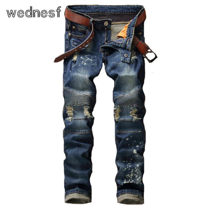 #1950 2017 Skinny Denim jeans men Fashion Motorcycle Mens biker jeans Slim Famous brand men Pantalon homme Ripped jeans for men 2017 fashion patch jeans men slim straight denim jeans ripped trousers new famous brand biker jeans logo mens zipper jeans 604