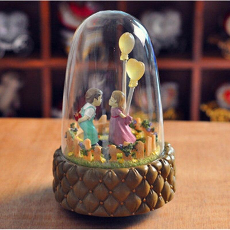 Zipi Luminous Rotation Glass Cover Music Box Clockwork Type 18 Tones Birthday Gift Christmas Girlfriend Romantic