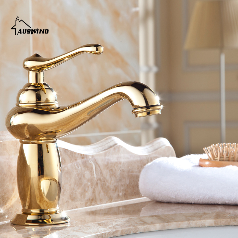 Antique Gold Brass Faucets Bathroom Polished Faucet Sink Basin Mixer Tap Bathroom Hardware Sets